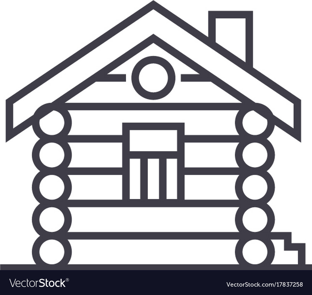 Housecabinwood house line icon sign vector image