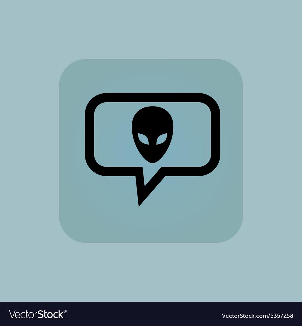 Pale blue alien message icon vector image