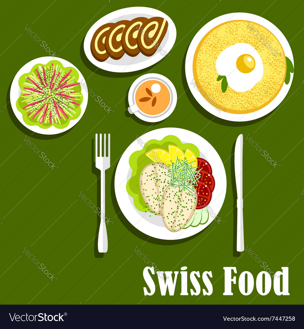 Swiss cuisine with rosti fish and chocolate roll vector image