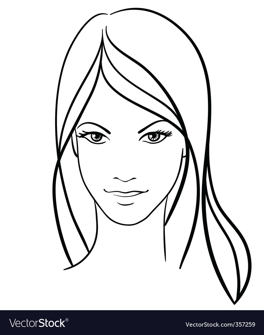 Beauty Girl Face Vector Icon Image