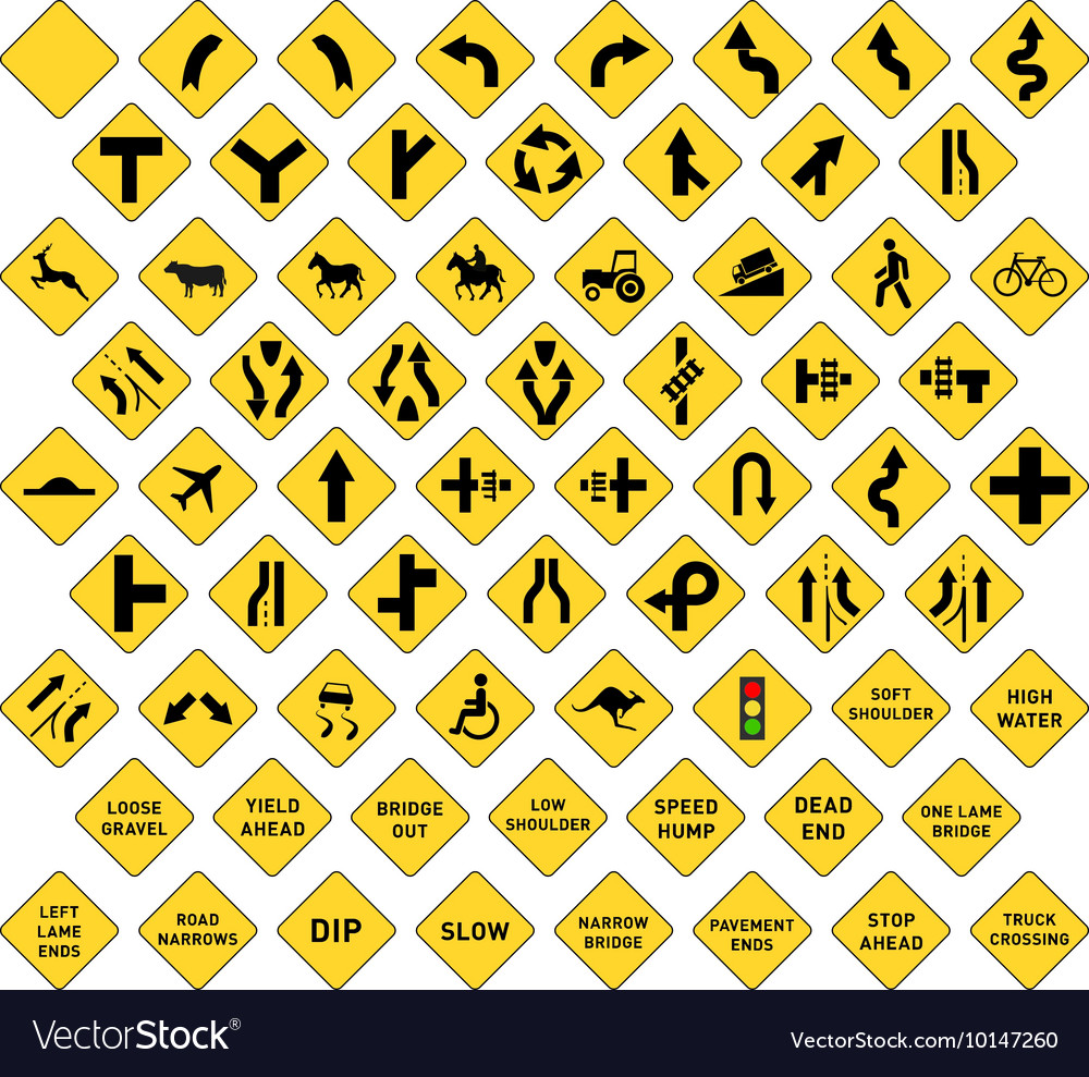 Big set of yellow road signs on white vector image