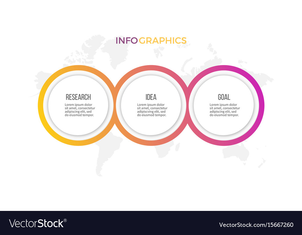 Business infographics presentation with 3 options vector image