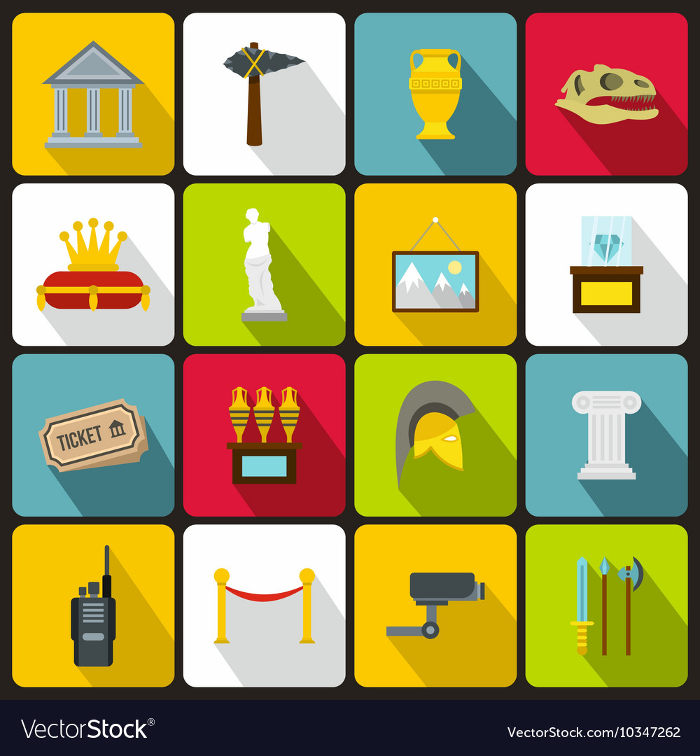 Museum icons set in flat style vector image