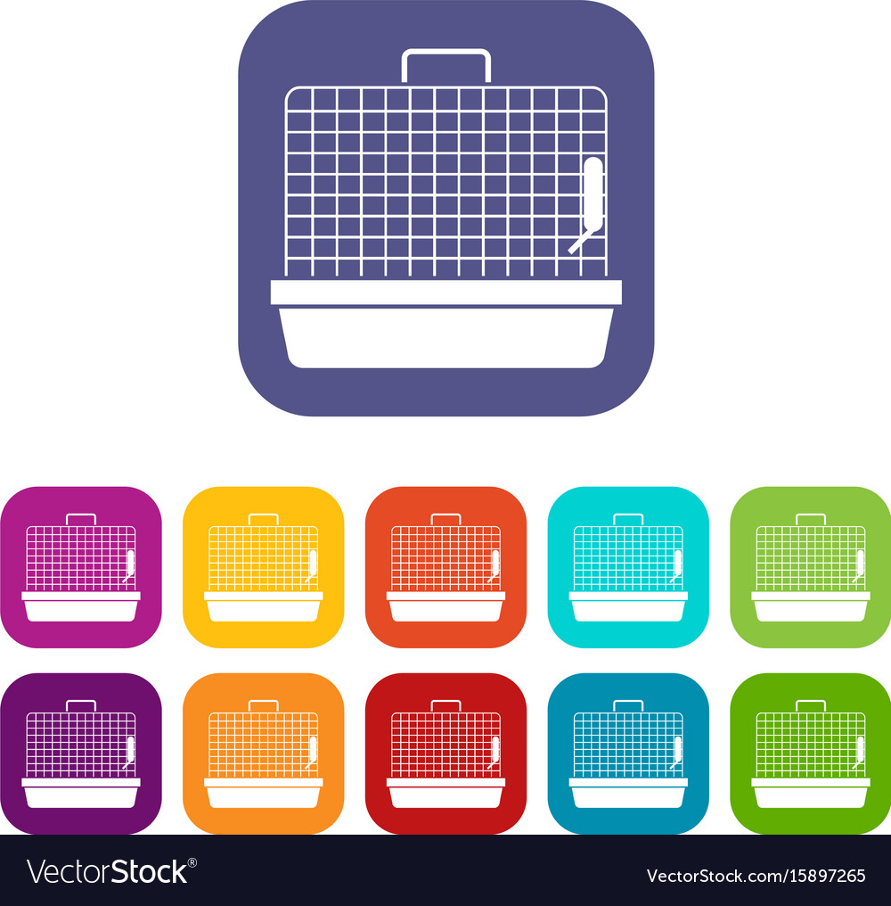 Cage for birds icons set vector image