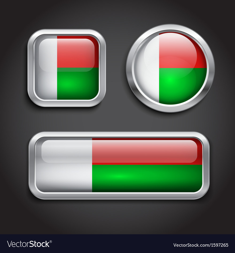 Madagascar Flag Glass Buttons Royalty Free Vector Image - Madagascar flag