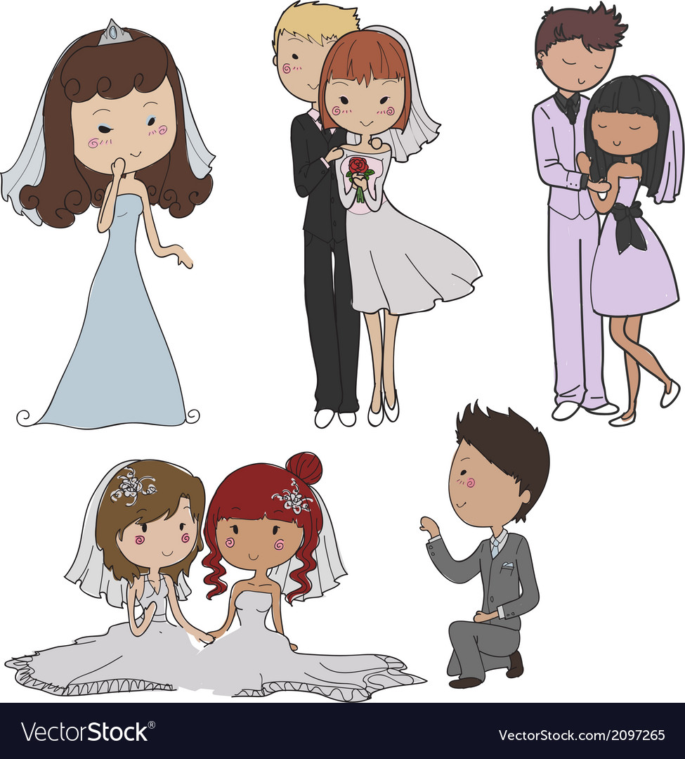 Marriage elements vector image