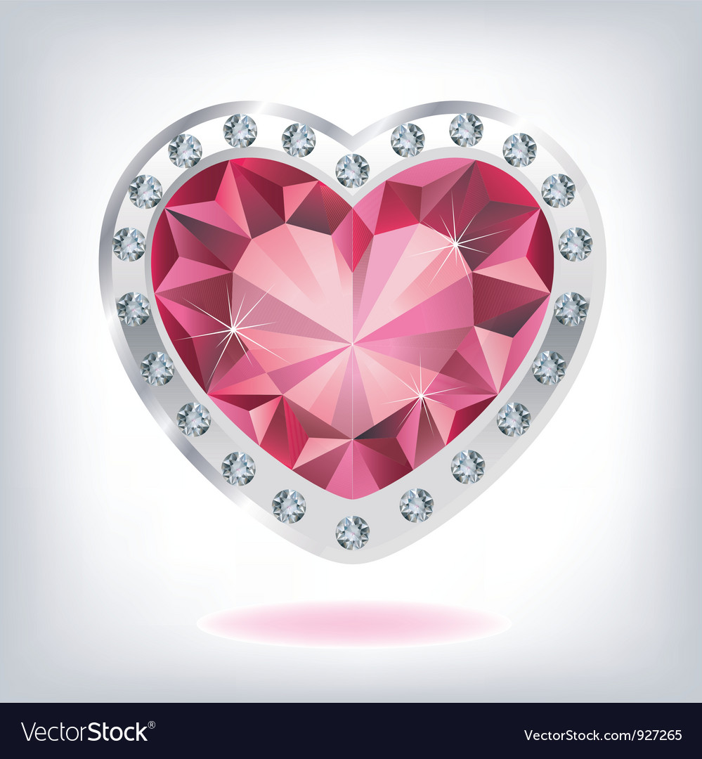 Ruby heart in diamonds vector image