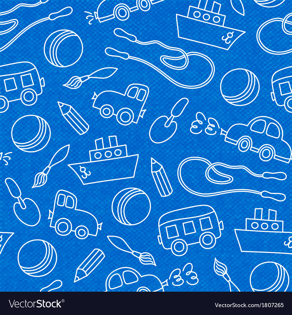 Seamless doodle children toys pattern vector image