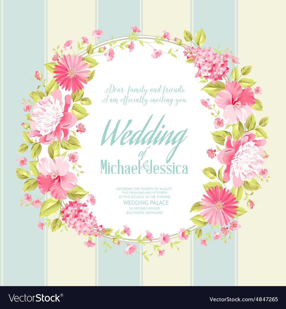 Wedding invitation card with custom text vector image