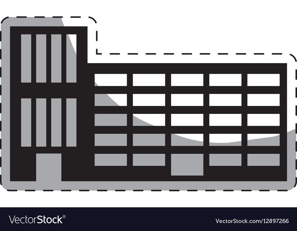 Black city school building line sticker vector image
