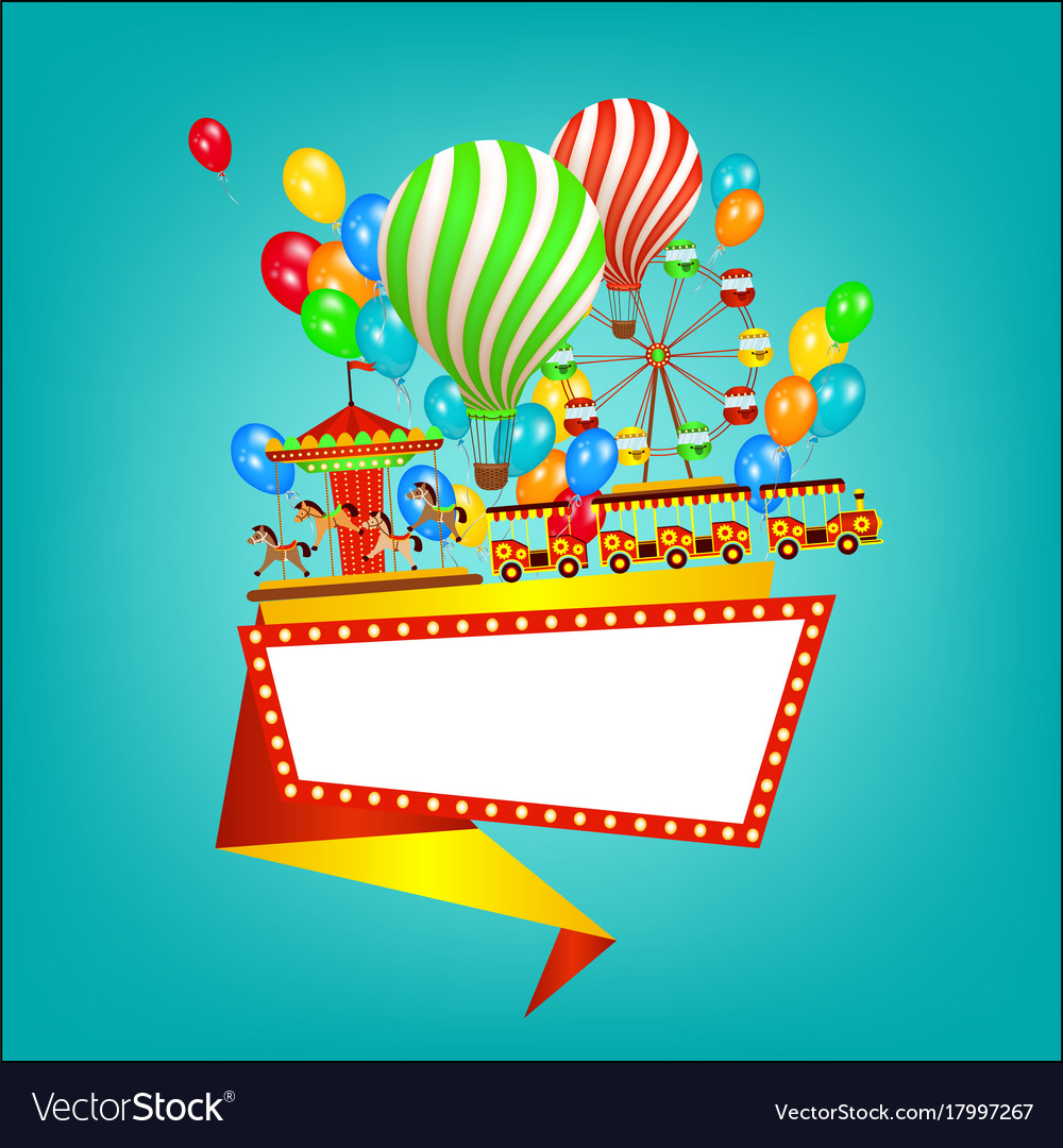 Amusement park banner poster template flat style vector image