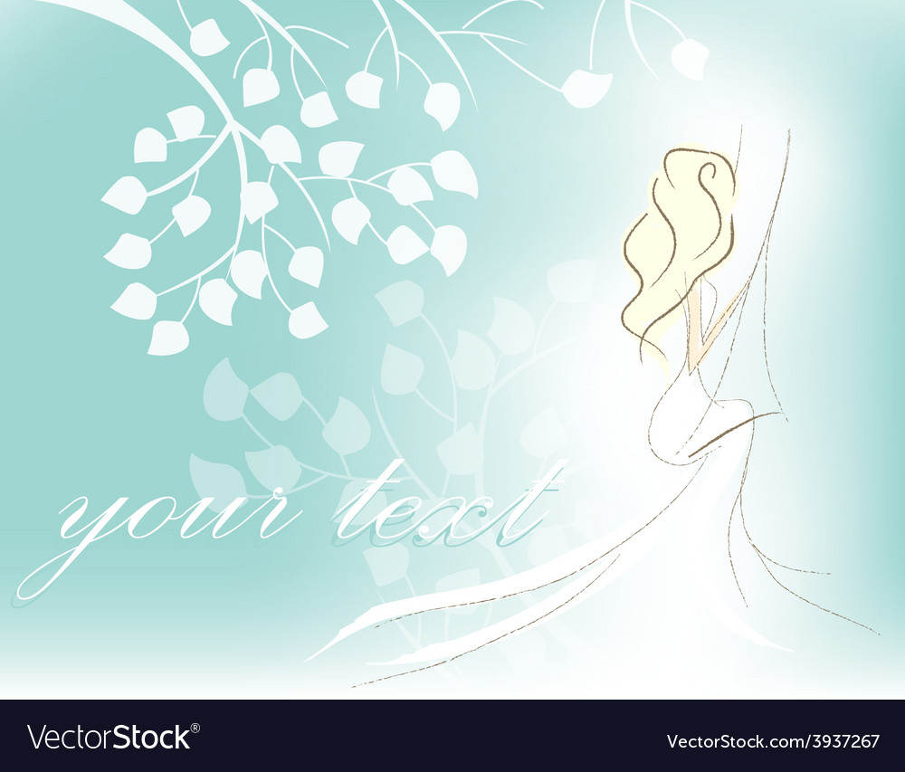 Card with woman vector image