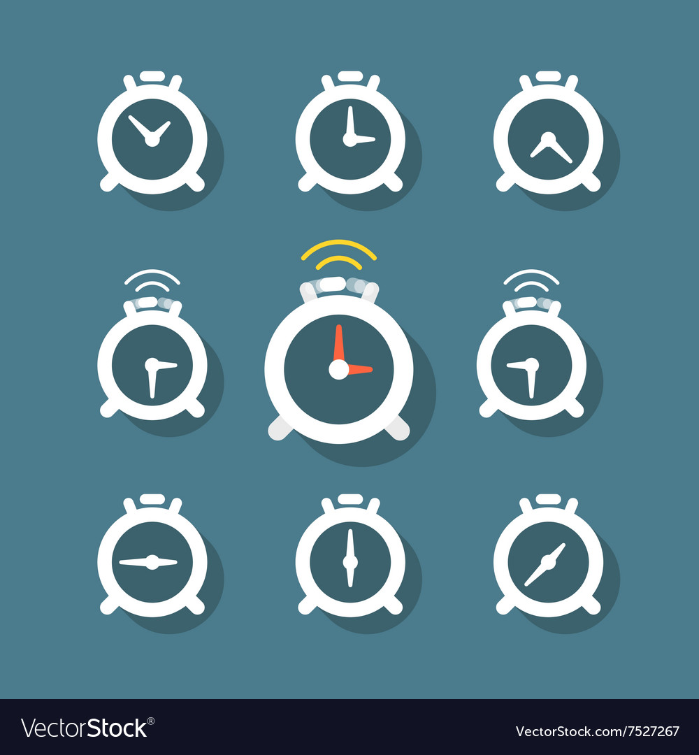 Different status of clocks collection vector image