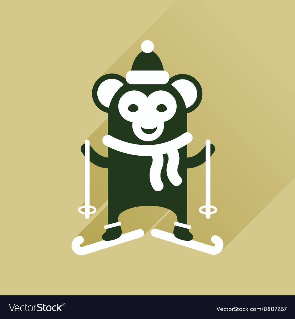 Flat Design Monkey Face Icon