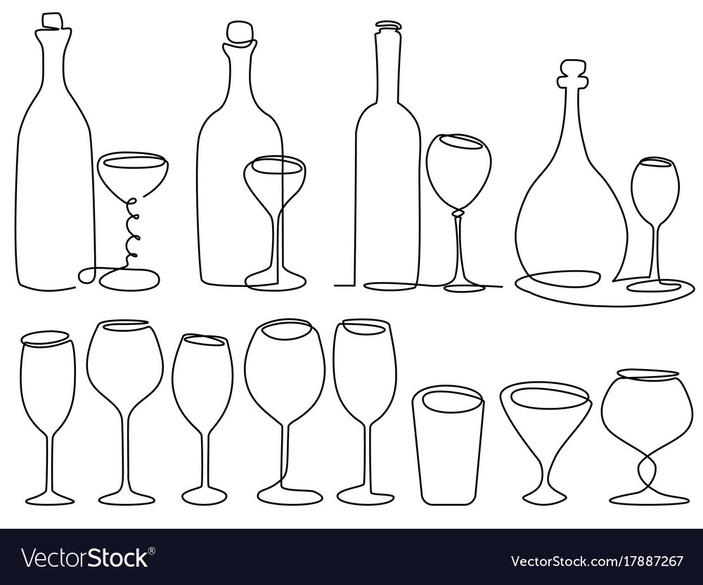Wine glass one line drawing vector image