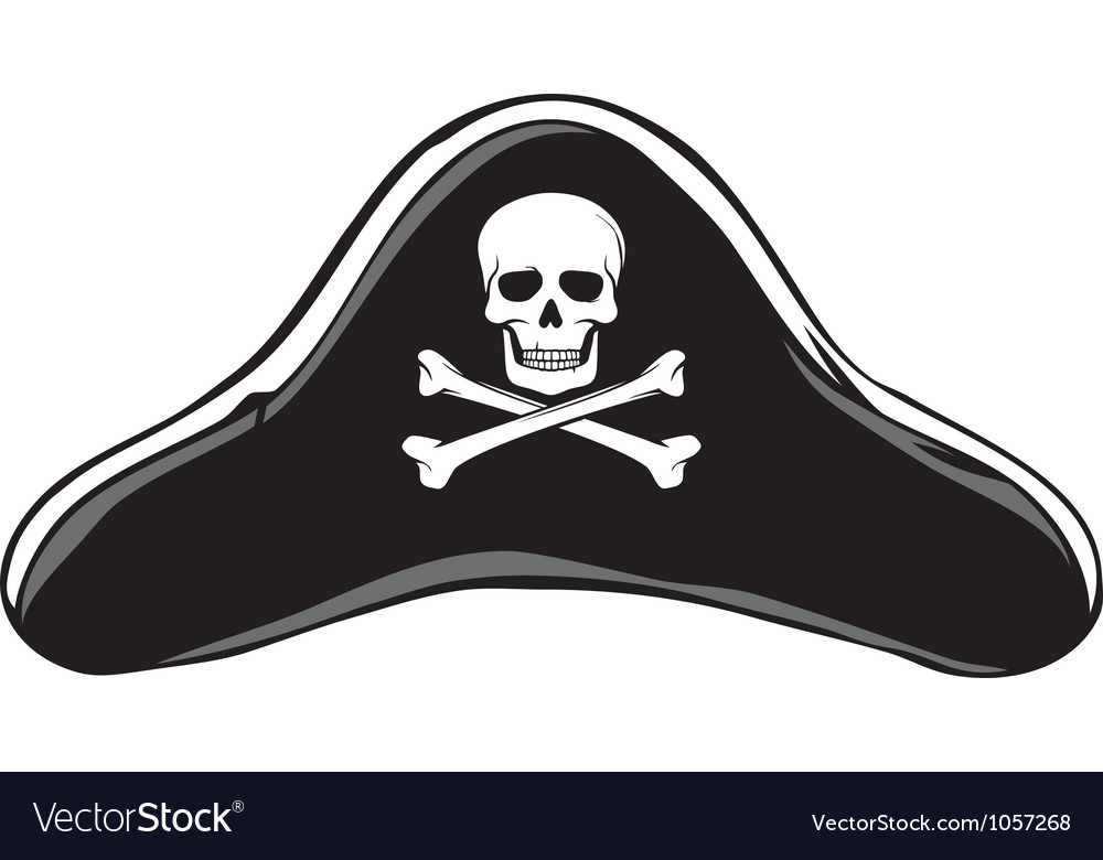 Black Pirate Hat vector image