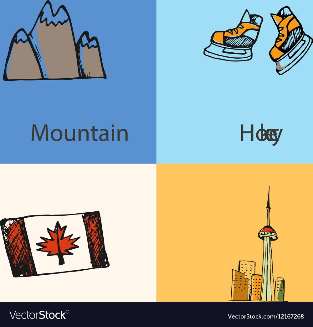 Canadian national symbols icons set royalty free vector canadian national symbols icons set vector image biocorpaavc Images