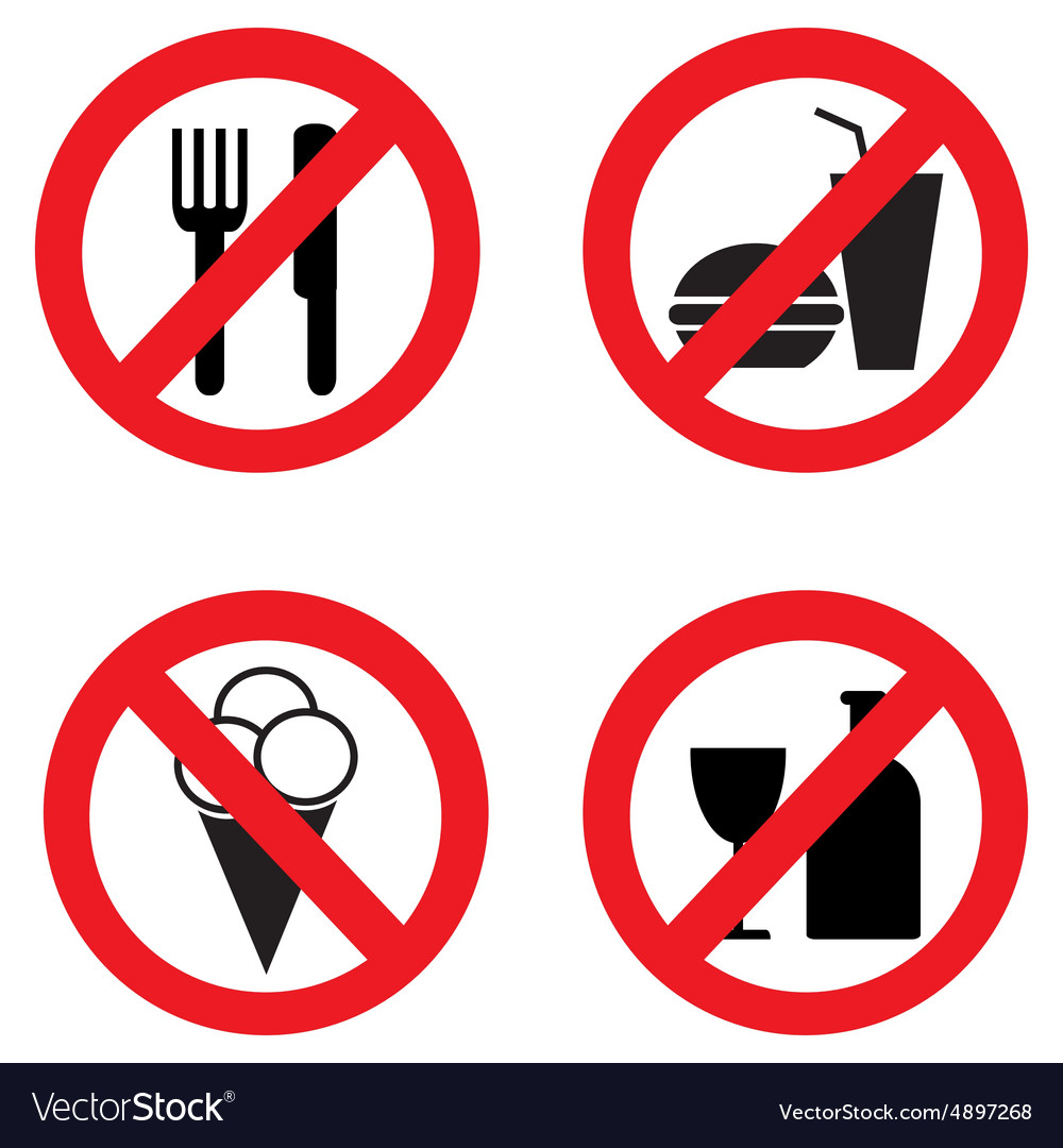 Set of icons forbidding food vector image