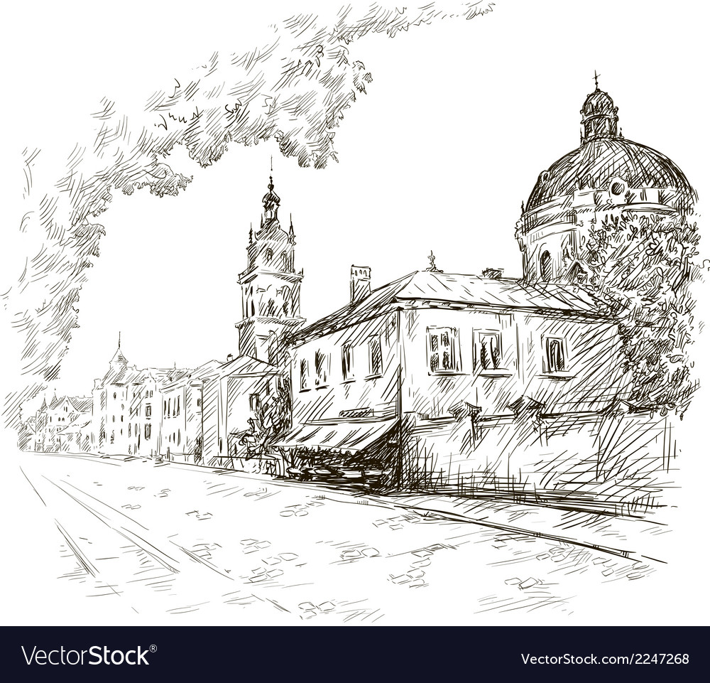 Sketch of a street Old city City centre vector image