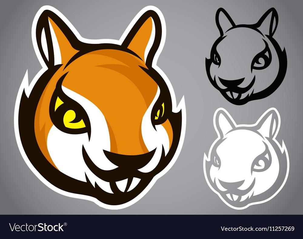 Squirrel head brown logo emblem vector image
