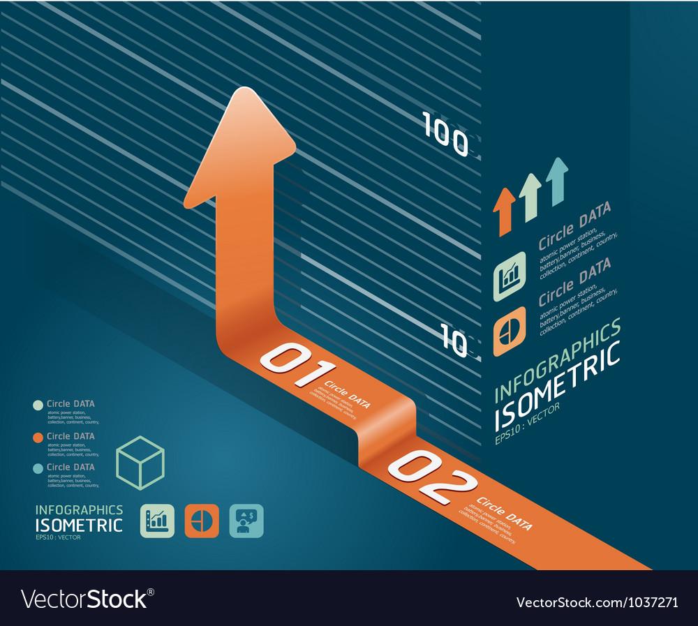 Infographic orange arrow diagram chart Vector Image