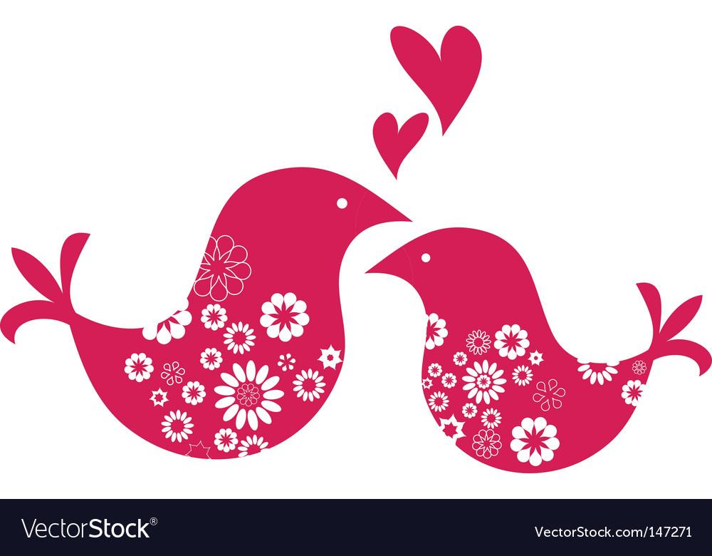 Retro love birds with hearts vector image