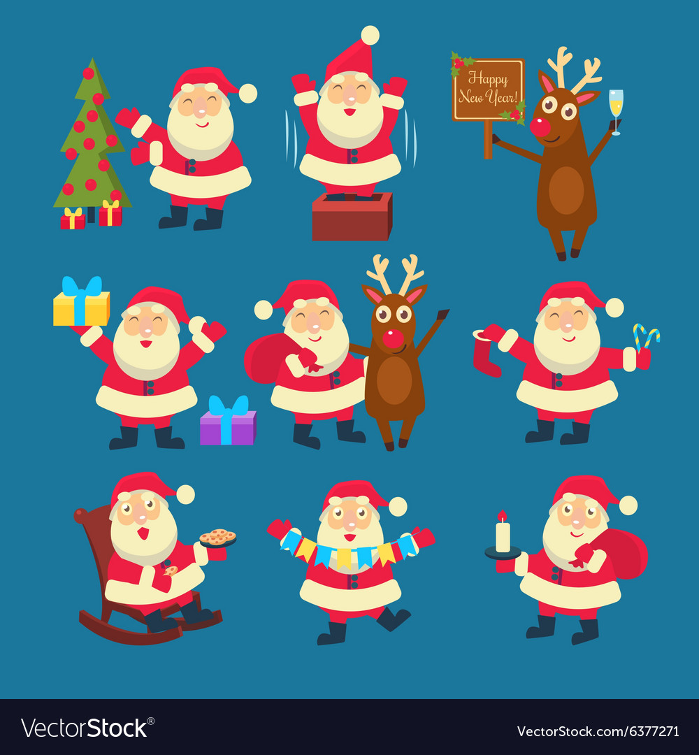 Santa and Deer Collection Christmas vector image