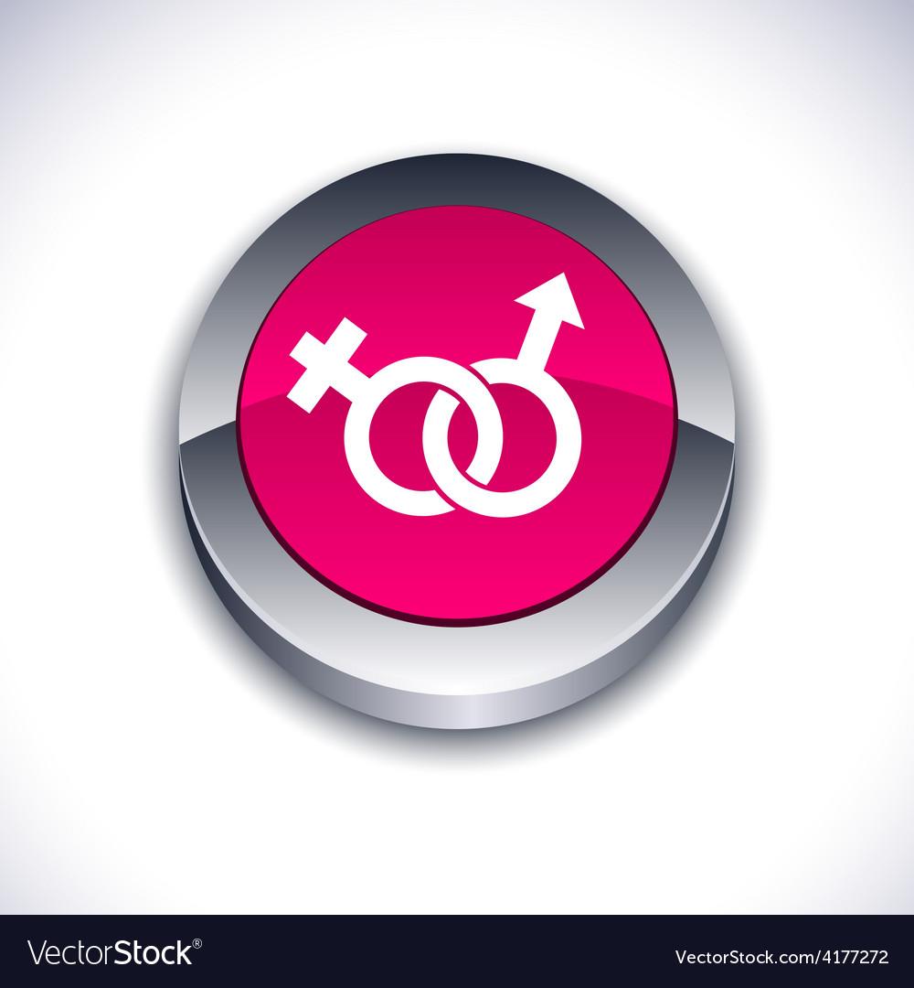 Sex 3d button vector image