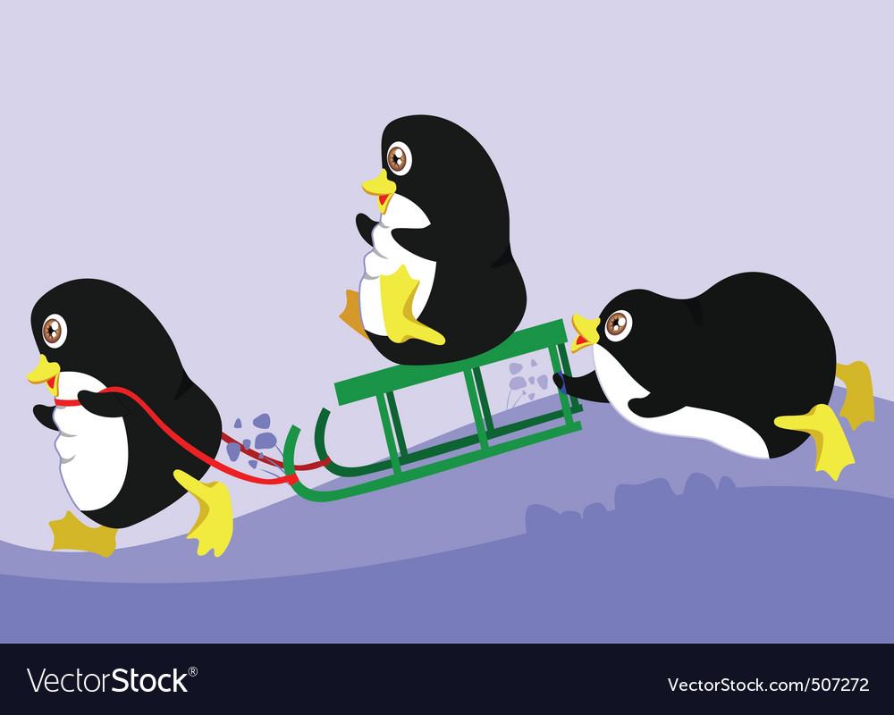 Three penguins vector image