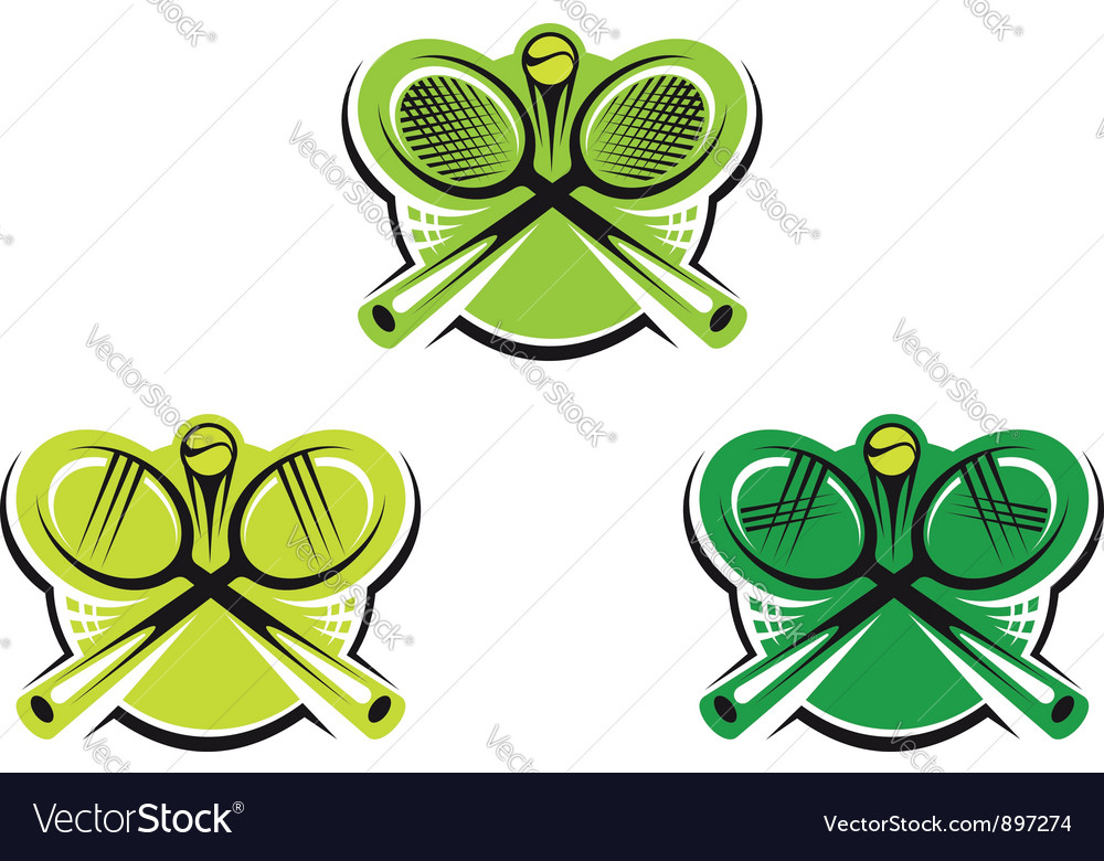 Set of tennis icons and symbols vector image