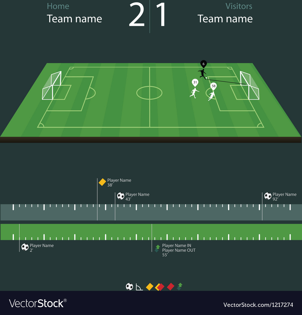 Soccer field with set of infographic elements vector image