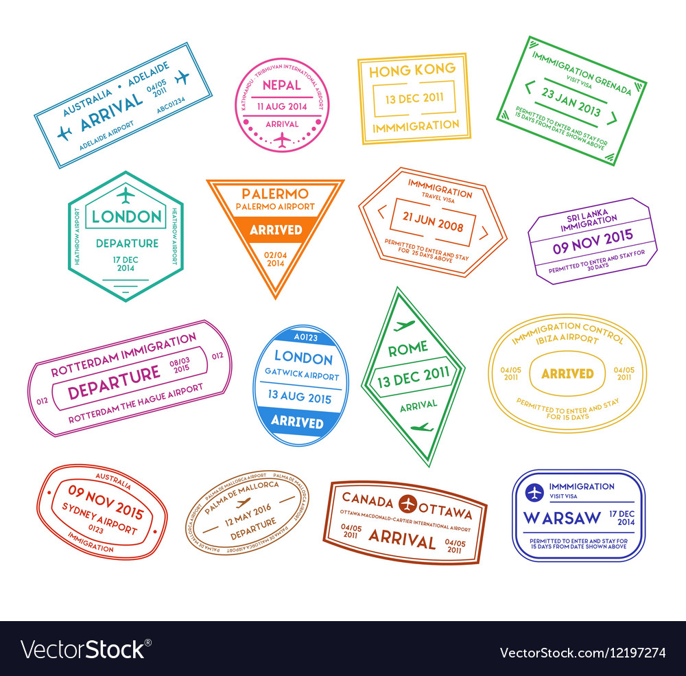 Travel Stamps Color Set vector image