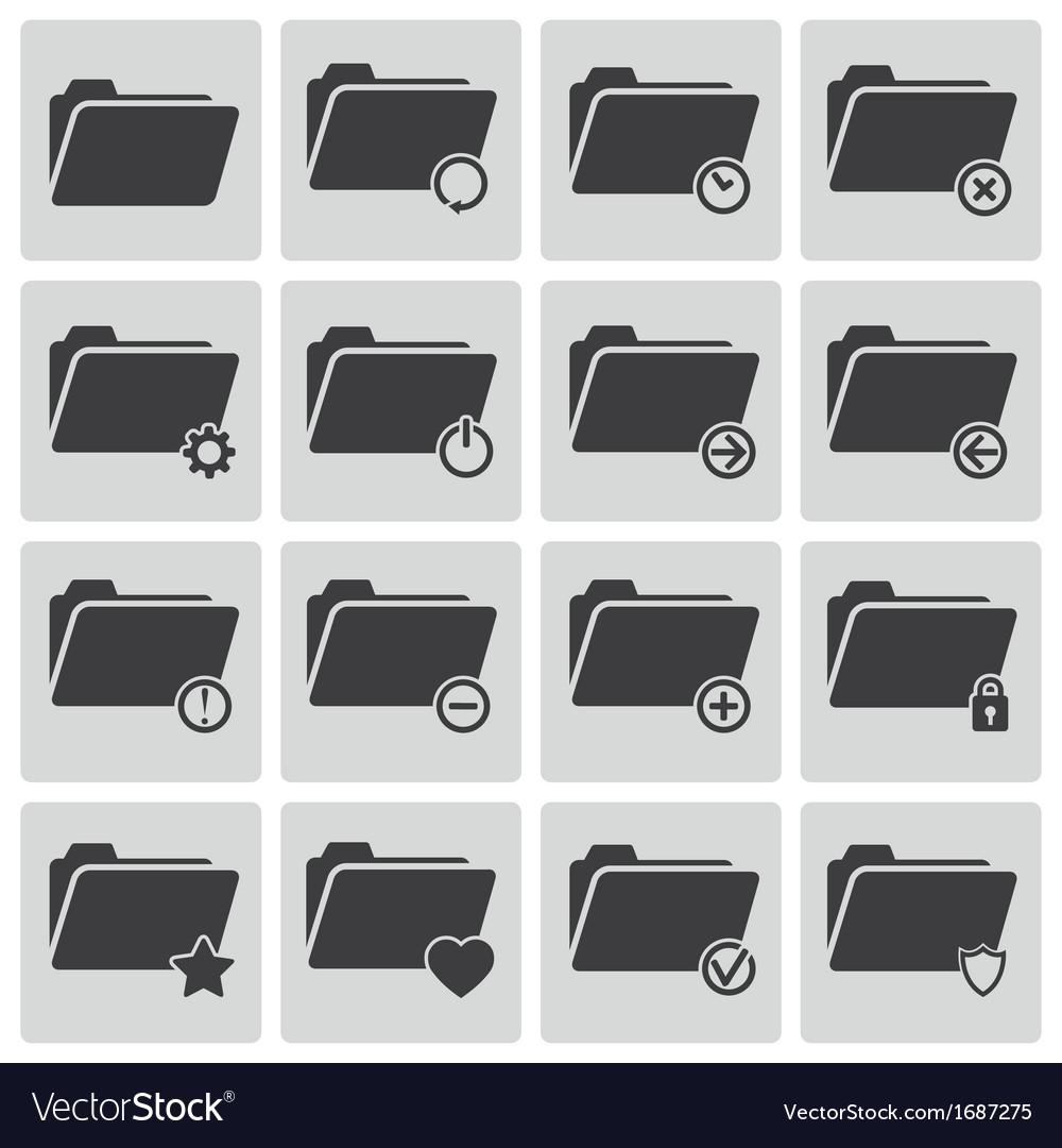 Black folder icons set Vector Image