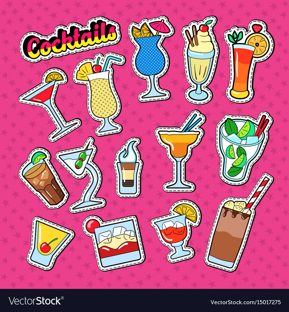 Cocktails doodle with different beverages vector image
