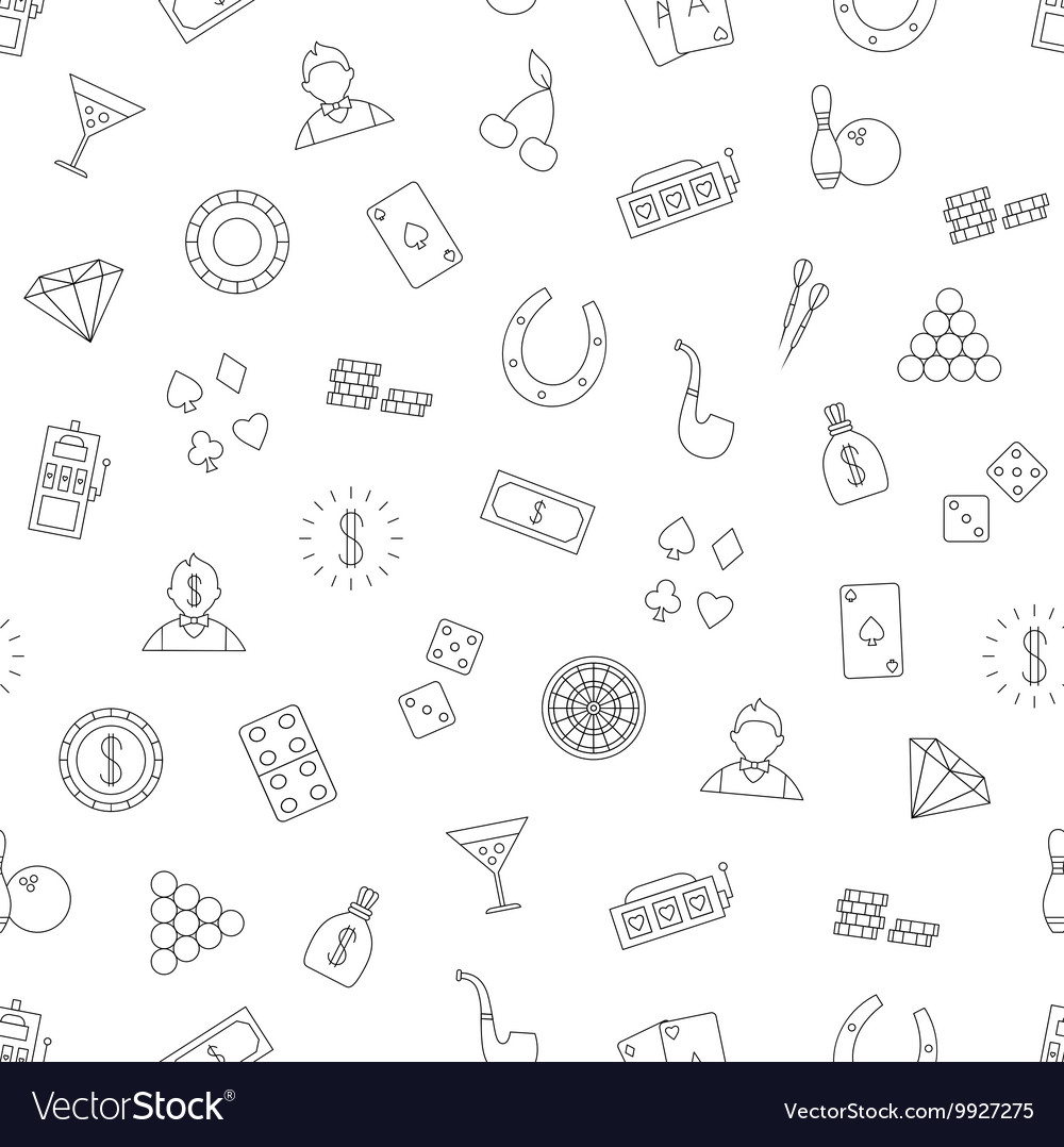 Gambling pattern black icons vector image
