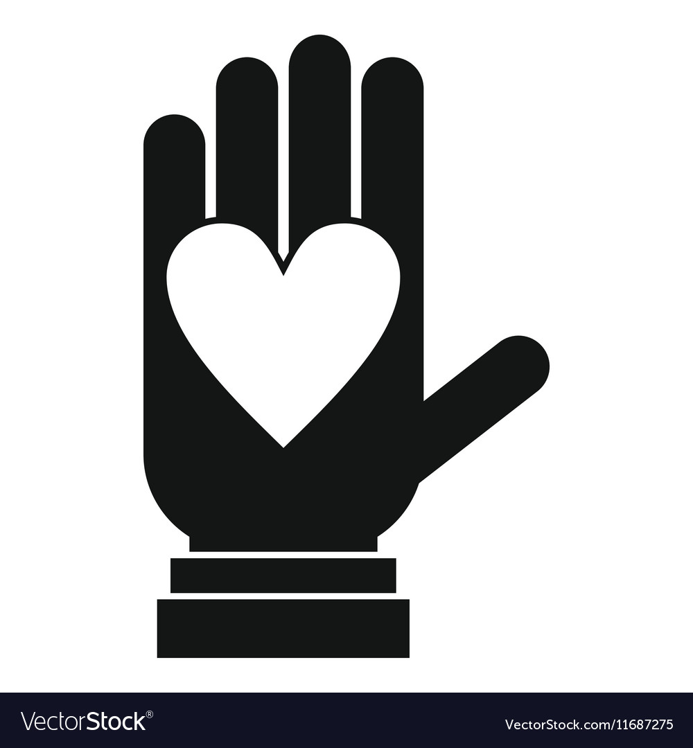 Hand with heart icon simple style vector image