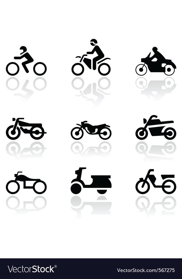 Motorbike symbol set vector image