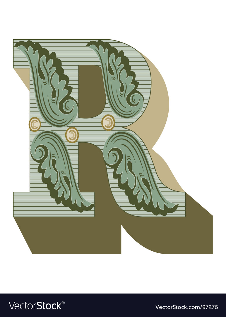 Western letter r Vector Image