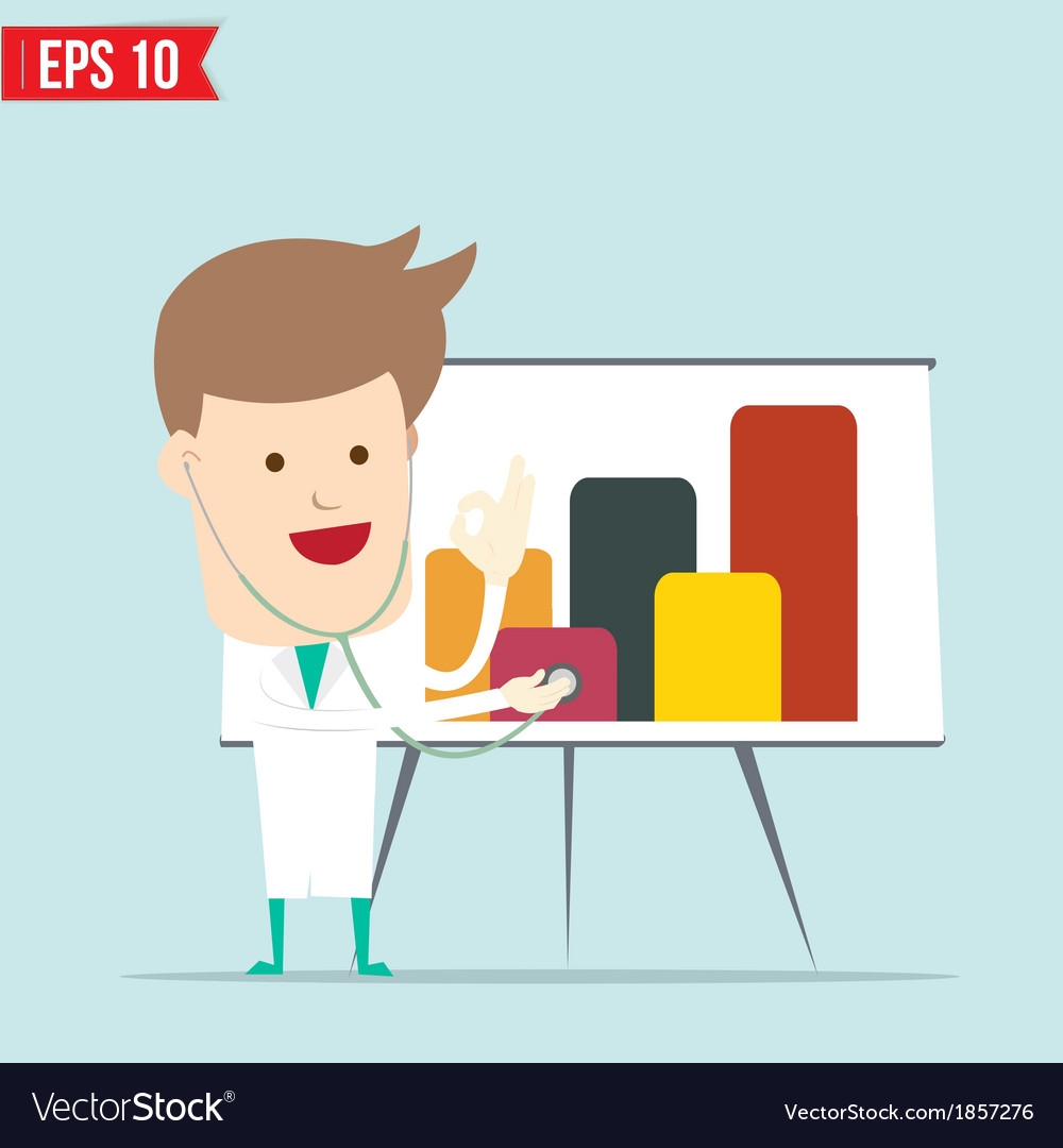 Doctor use stethoscope checking up business vector image