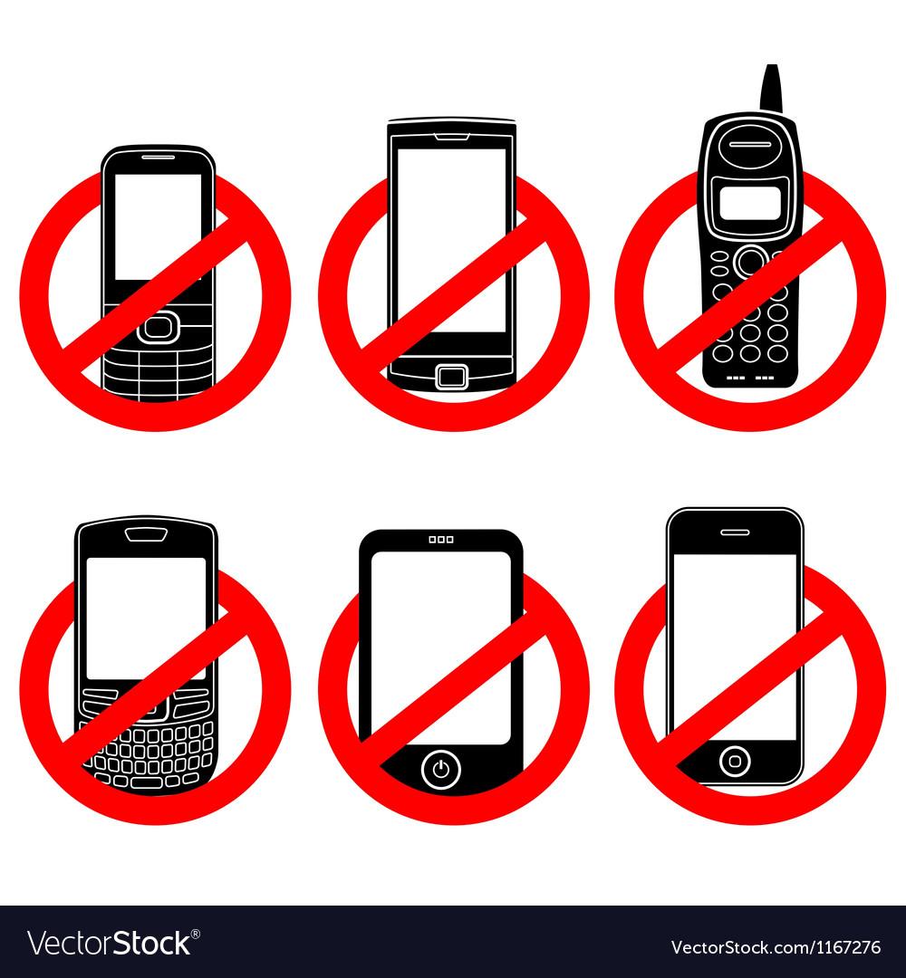 No phone sign set vector image