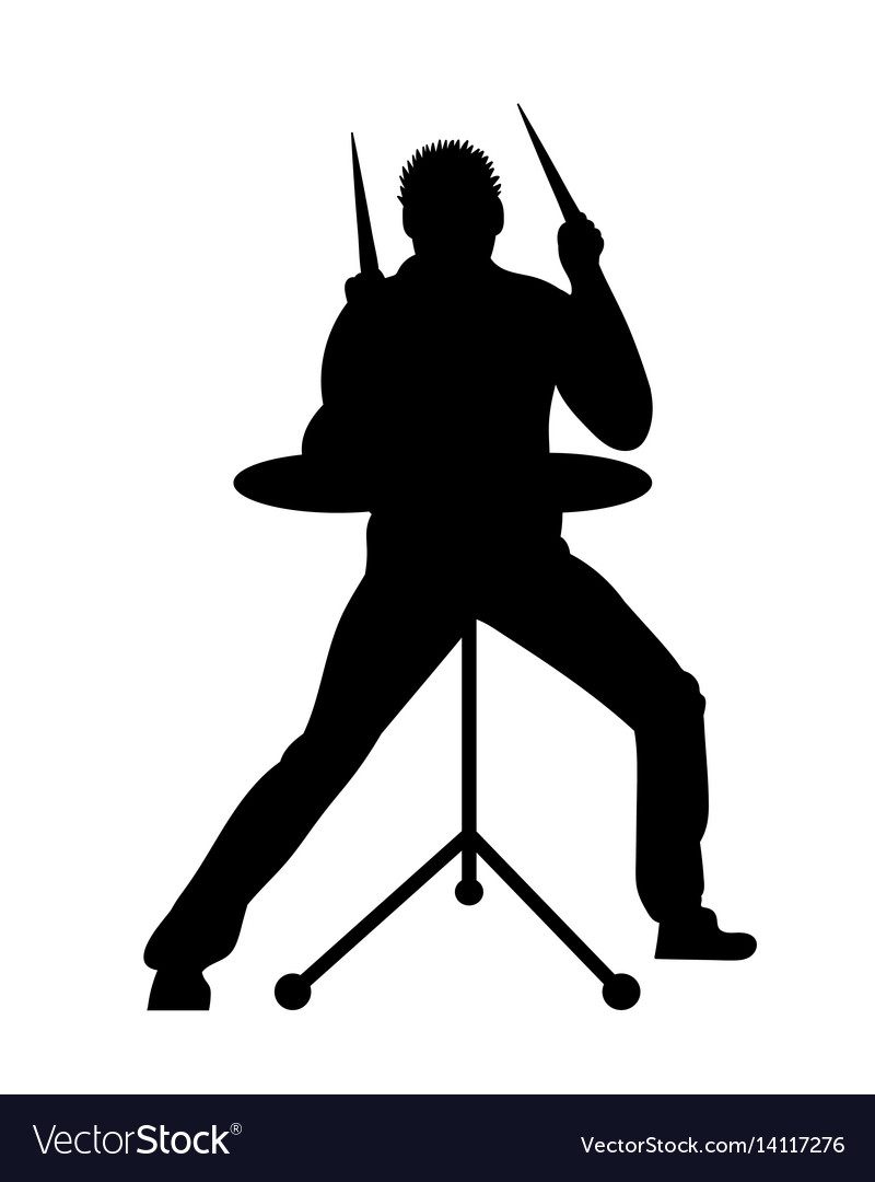Silhouettes of musicians with drum system vector image