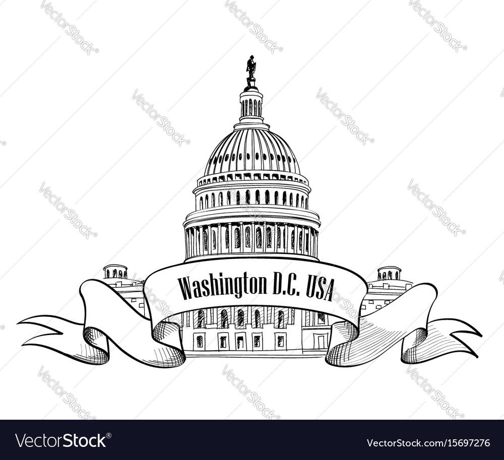 Washington dc usa travel sign vector image