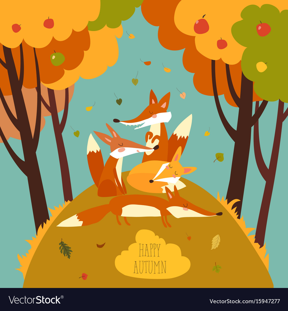 Cute foxes in autumn forest vector image