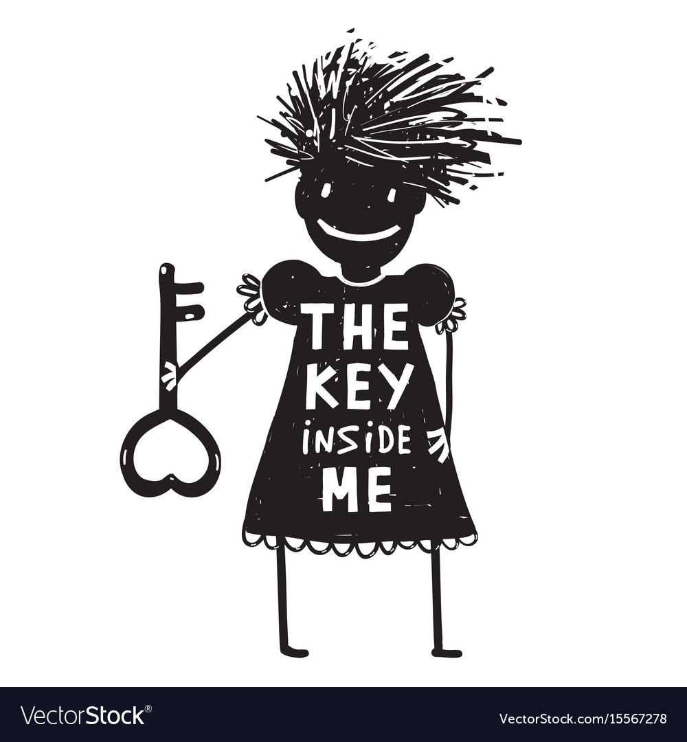 Girl with key cartoon vector image