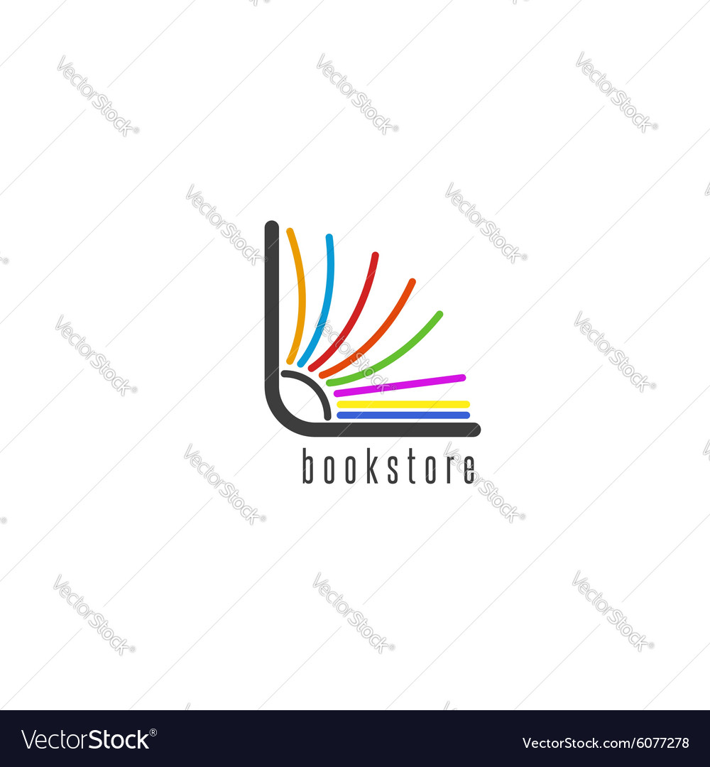 Mockup book logo flipping colored pages of the vector image