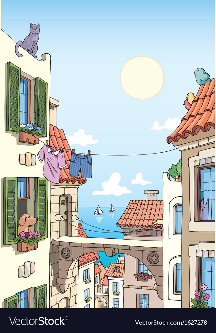 Old City Near the Sea vector image