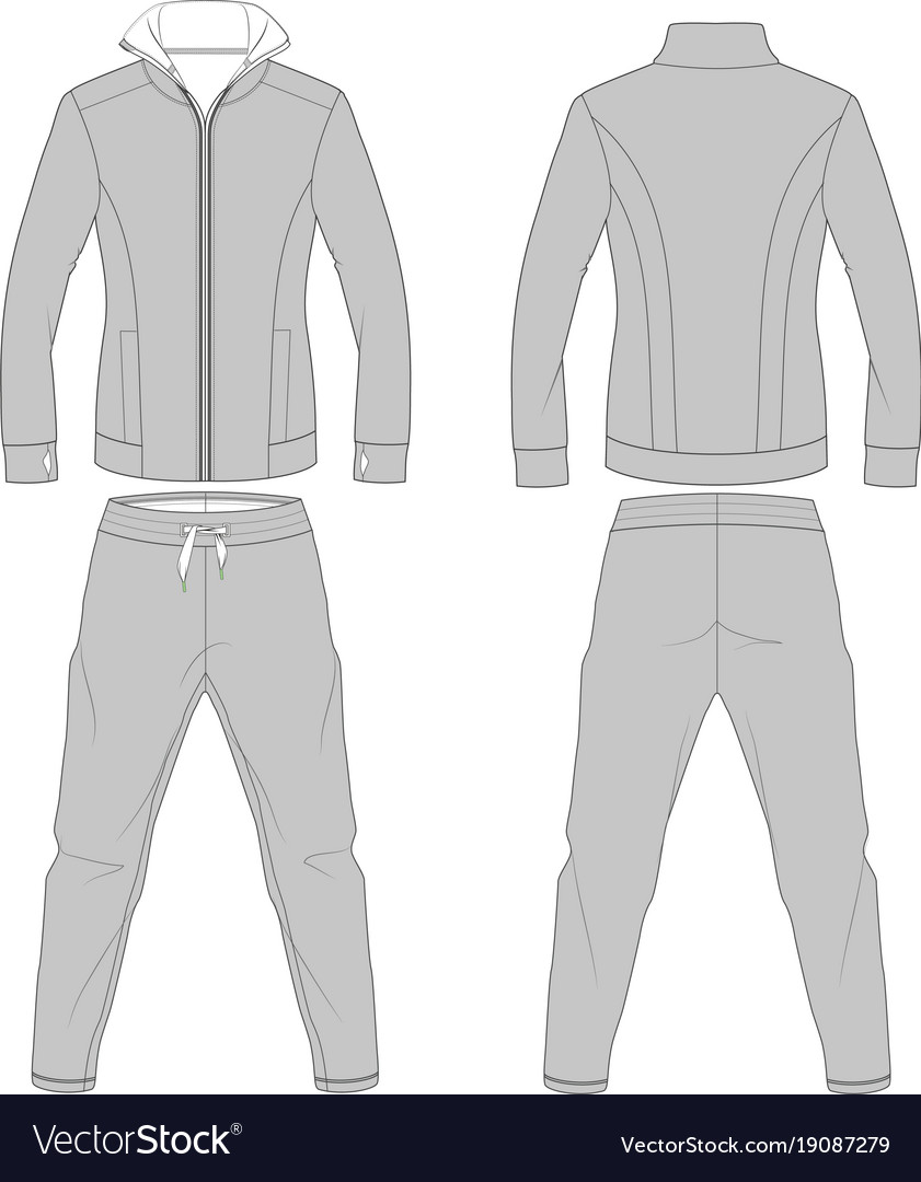 Fashion athletic apparel flat drawings