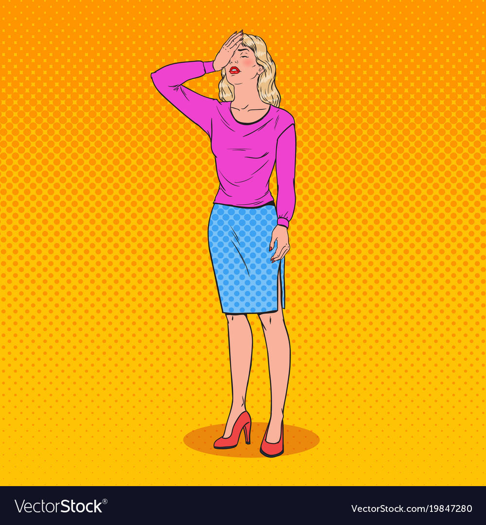 Pop art confused woman covering her face with hand vector image