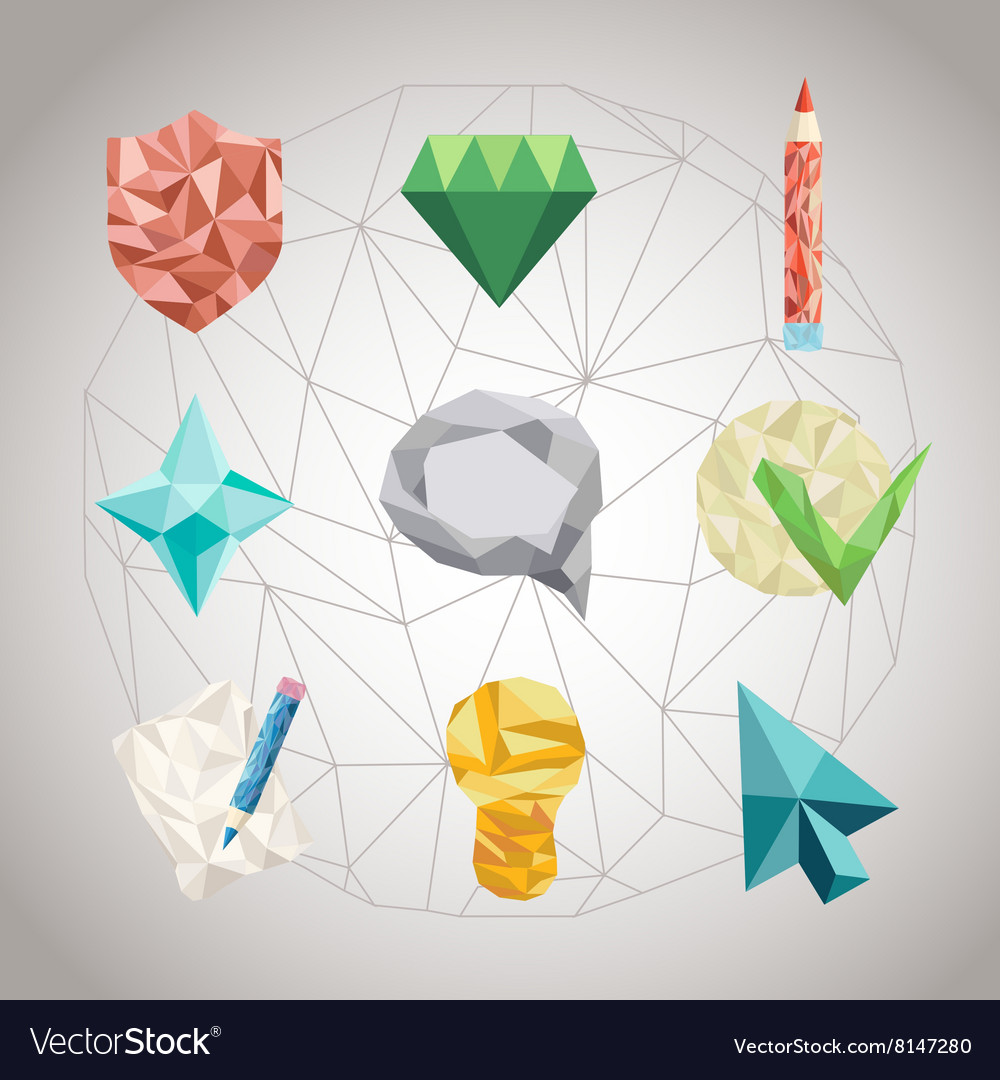 Set of polygonal geometrical figures vector image