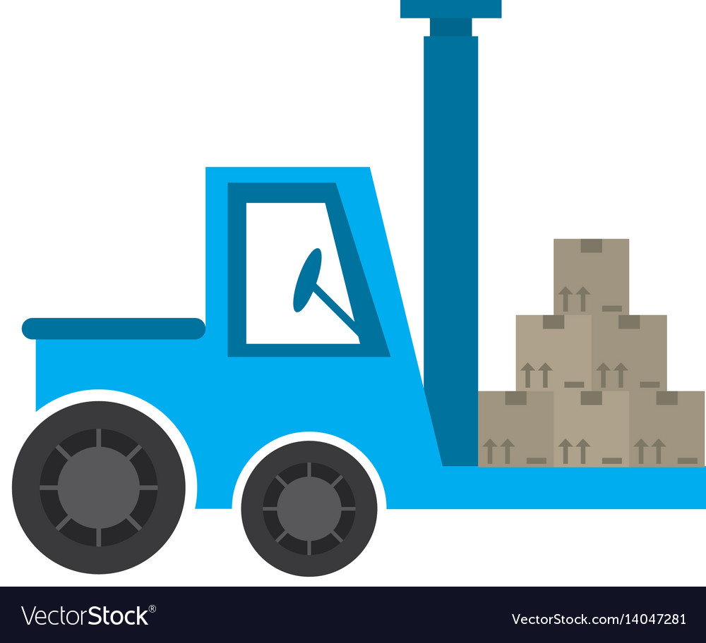 Delivery forklift boxes work vector image